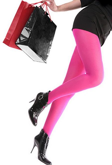 ярко-розовые колготки