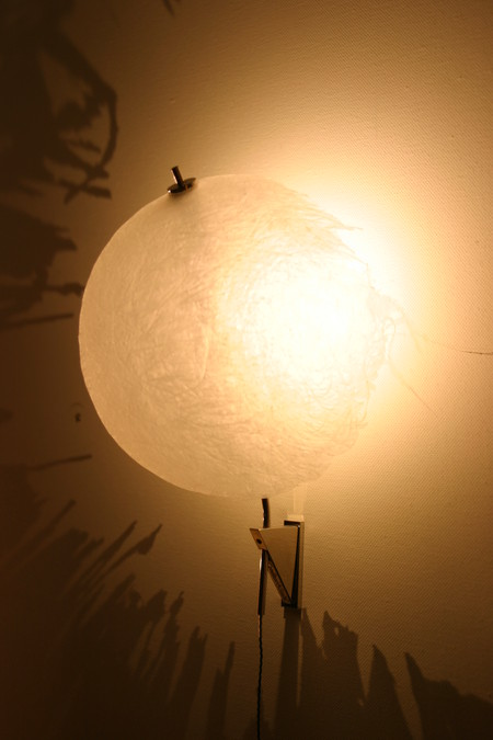 Вот такой светильник наподобие медузообразного вида оболочки освещает стену из своего внутреннего пространства и мир кажется таинственным зачарованным в этом свете.